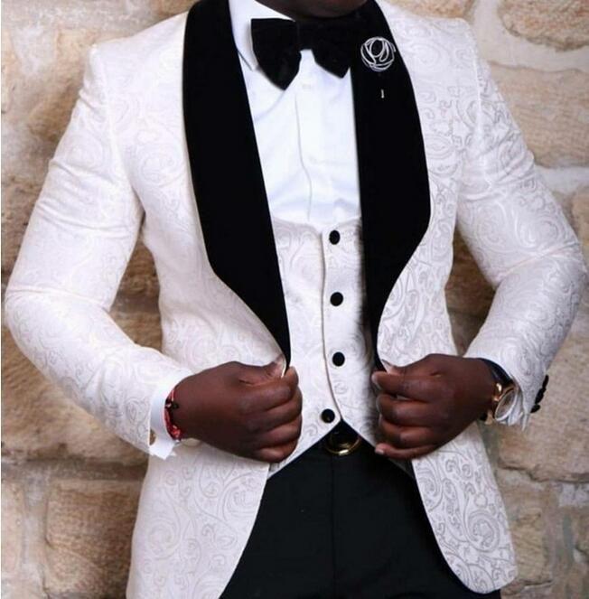الجملة-2017 جديد وصول الرجال الدعاوى أحدث معطف بانت تصاميم أحمر / أبيض / أسود الرجال الدعاوى الزفاف أفضل رجل سهرة سترات (سترة + سترة + بنطلون)