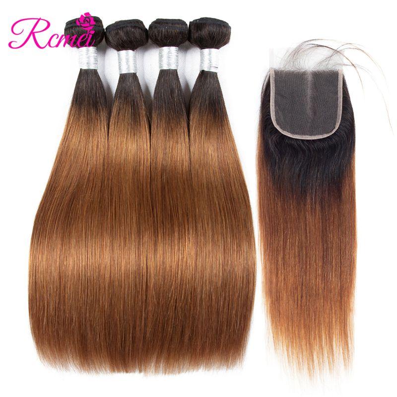 Rcmei Two Tone Ombre Cabello liso brasileño 1B 30 Color Cabello 4 Paquete con cierre de encaje 1B / 30 Paquetes de tejido de cabello Envío gratis