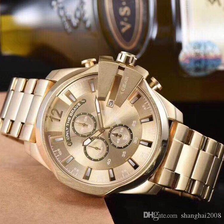 남자를위한 4360 골드 시계 큰 다이얼 메가 수석 크로노 그래프 스테인레스 스포츠 시계 패션 드레스 시계 캐주얼 쿼츠 시계