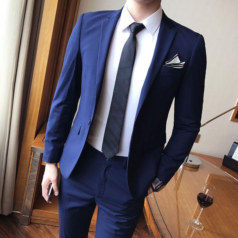 2019 Men Suits Royal Blue Formal Business Suit 2 Pieces Coat Pants Groomsmen Suits Best Man Blazers Jacket Customized Bridegroom Wear