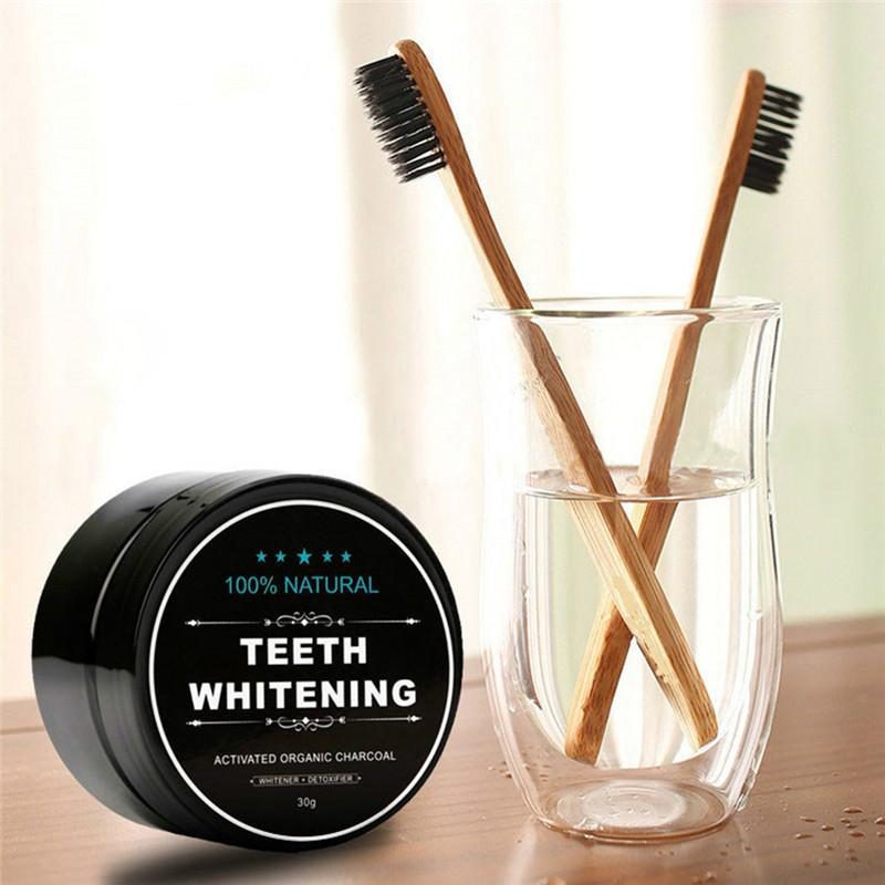 Activated Carbon Whitening Powder Set Toothpaste Whitening Tooth Powder Bamboo Charcoal Toothbrush Oral Hygiene Cleaning