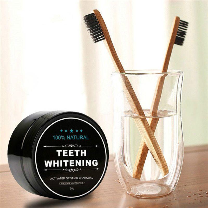 تعيين مسحوق تبييض الكربون المنشط معجون الأسنان تبييض الأسنان مسحوق الخيزران الفحم فرشاة الأسنان نظافة الفم