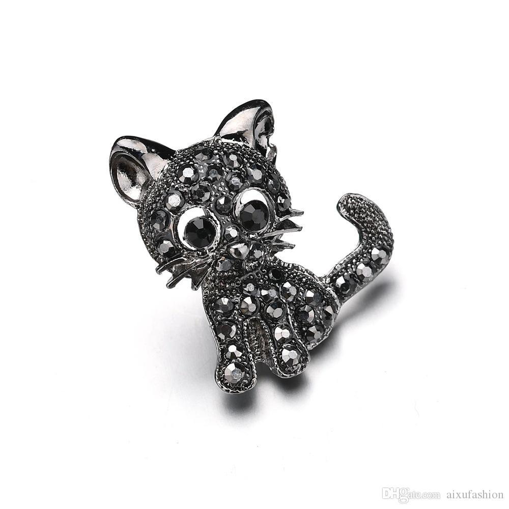 Nouveau Style Femmes Vintage Noir Cristal Mignon Chat Broches Strass Collar Pins Corsage Broche Badges Bijoux Accessoires