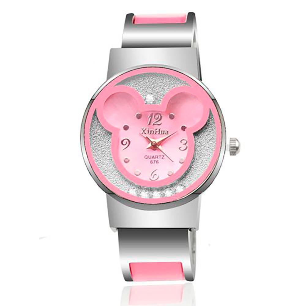 Frauen-Uhr-Armband-Uhr-Frauen kleiden analoges Mädchen-nette rollende Rhinestone-Armbanduhren 2018 Damen-beiläufige Quarz-Uhr