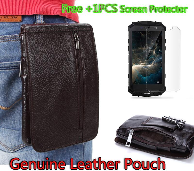 Luxury Genuine Leather Vertical Waist Bag case For Doogee s60 Belt Clip Pouch Holster Cover capa + Tempered Glass
