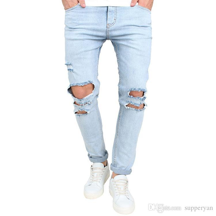 Distressed Ripped Freyed Slim Fit Jeans Trousers Mens Skinny Stretch Denim Pants