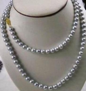 Оптовая 9-10мм Tahitian серый Жемчужное ожерелье 38 дюймов 14k золото Застежка