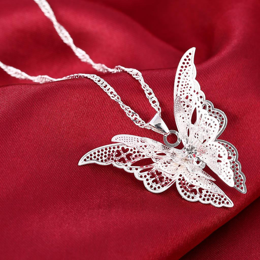 Fashion Brand New Women Lady Girl 925 Sterling Silver Plated Butterfly Necklace Pendant Fashion Wholesale sales