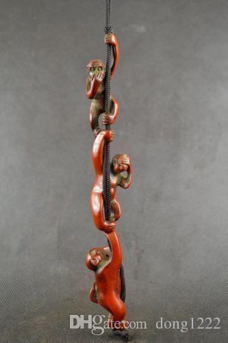 Coleccionables Trabajo hecho a mano Antiguo Resina talla 3 Monkey Amulet colgante