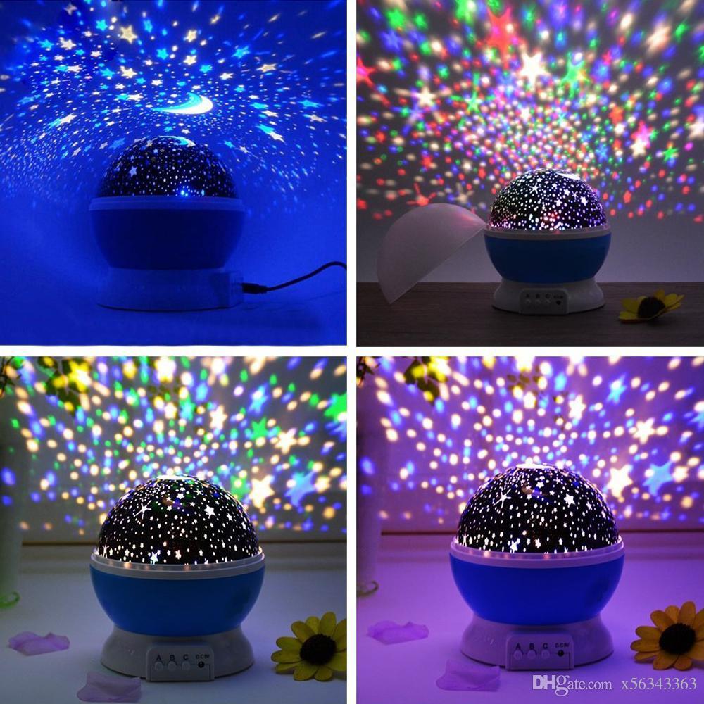 Großhandel Sterne Sternenhimmel LED Nachtlicht Rotierenden Projektor Lampe  Schlafzimmer Nachttischlampen Für Kinder Baby Hochzeit Weihnachtsschmuck