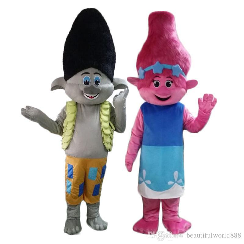 2018 High quality Poppy From Dream works TROLLS Movie Halloween Costume Mascot Fancy Dress adult size Free shipping