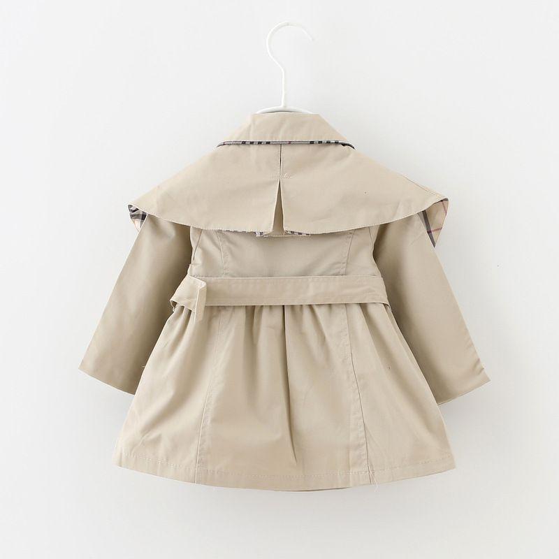 Baby Girls Paind Trench Весна Осень Топы Детская Треваная Куртка Верхняя одежда Дети Одежда Длинные Рукава Траншевые