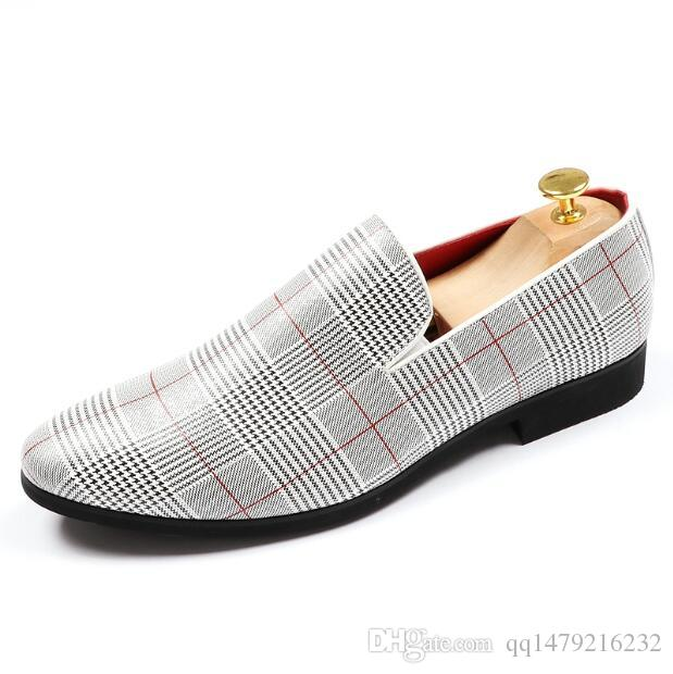 2018 New Fashion Men's Casual Loafers PU Leather Slip-on Dress Shoes Handmade Smoking Slipper Men Flats Wedding Party Shoes a58