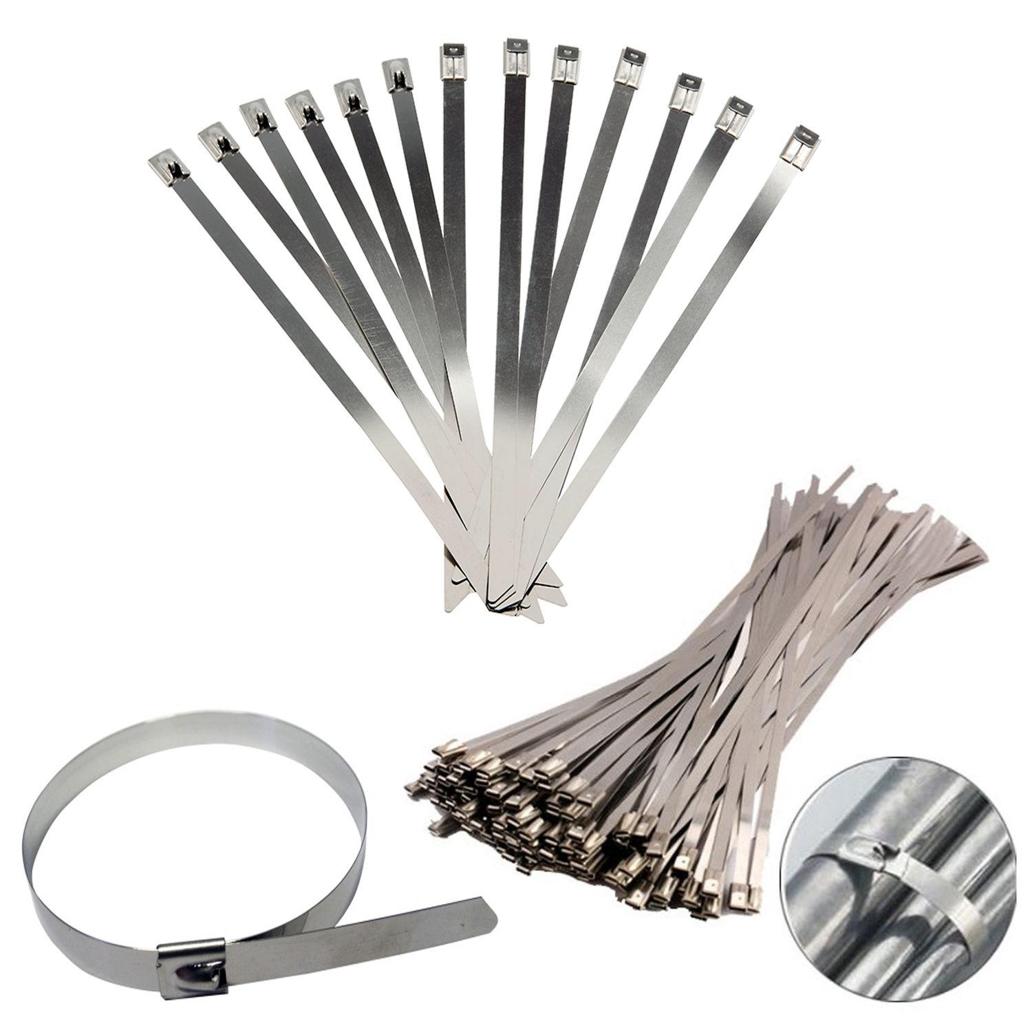 10 x Stainless Steel Metal Cable Ties **Exhaust Wrap High Temp** Heat Strap Zip