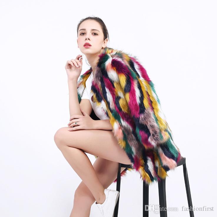 Зима нового искусственного меха пальто теплой длинное пальто мода цветой лисица куртка многоцветного леди девушка F Шубы