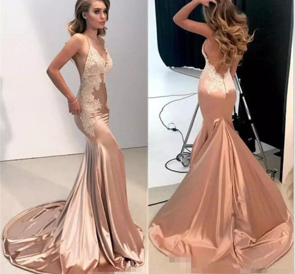 Compre 2019 Vestidos De Fiesta De Encaje Sin Espalda Sexy Sirena Vestidos Largos Vestidos De Noche Vestidos Largos Vestidos De Fiesta Vestido De
