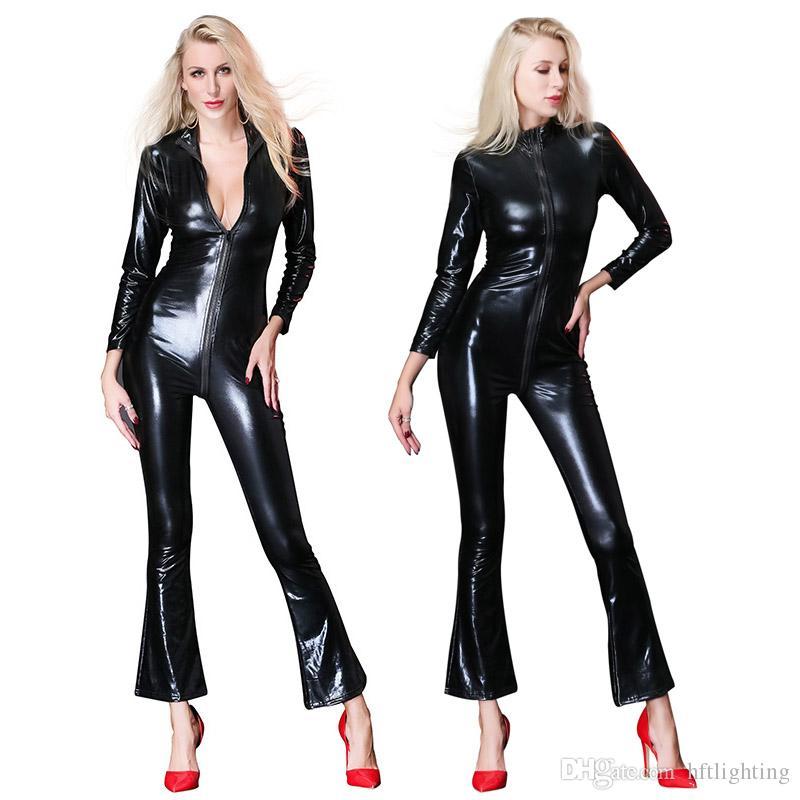 Costumi da donna in pelle verniciata nera sexy per donna Cerniera con cavallo incrociato per Bar Clubwear Stripper Party Fancy