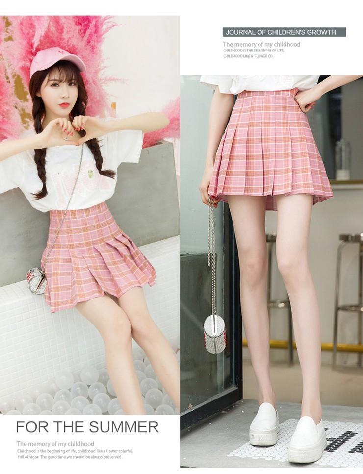 Fashion Summer Skirt Women 2018 Ete Skirts Casaul Pleated Ladies Skirts High Waist Mini Skirt Female Skirt Plaid Saia Jupe Femme (6)