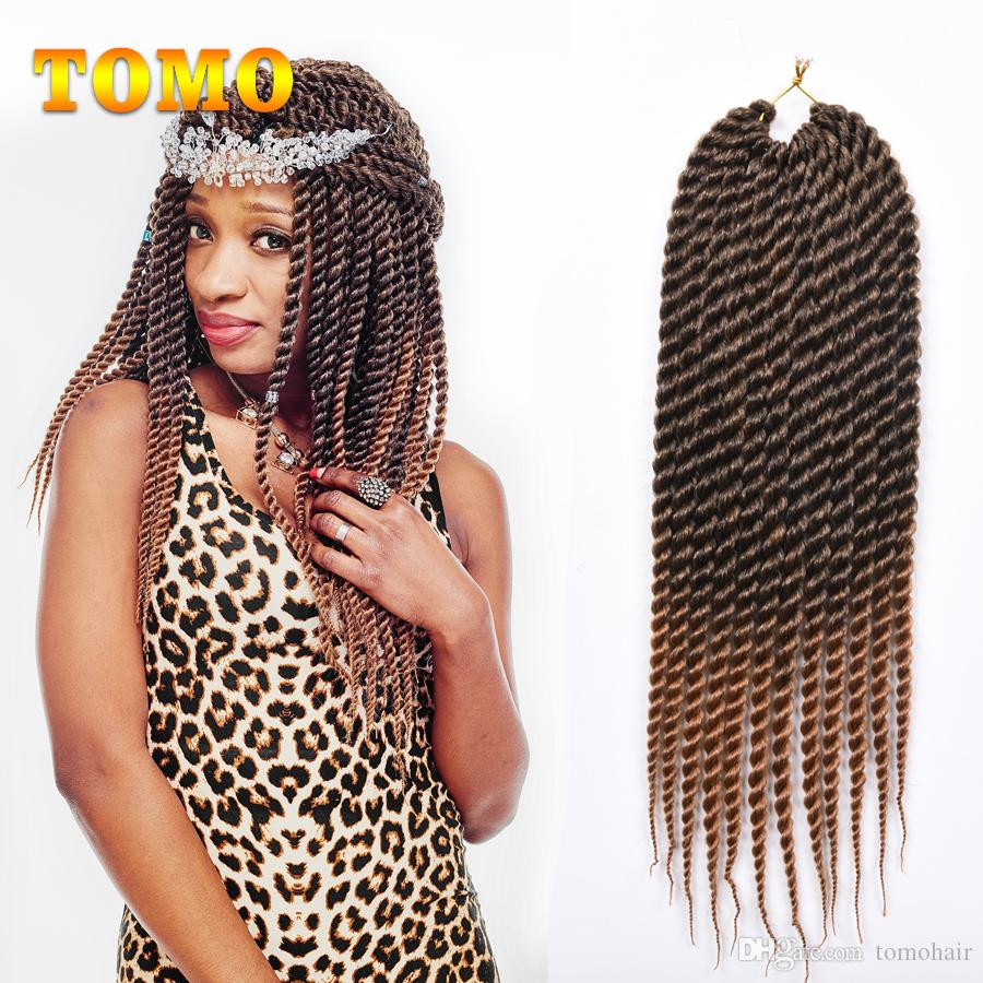 TOMO 12/18inch Senegalese Twist Braid Low Temperature Fiber Synthetic Crochet Braids Hair Extensions For Black/White Woman 12 Roots/pack