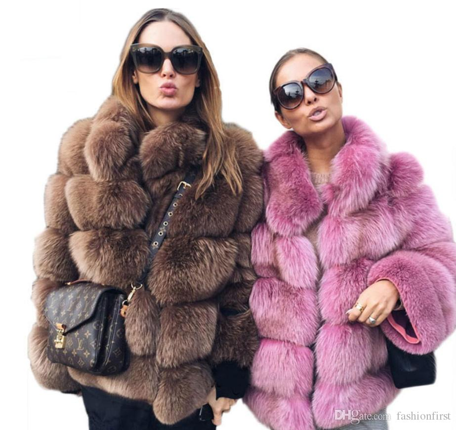 3ccd90a60bc74 2019 Hot Luxury Women Faux Fox Fur Coat Fluffy Outerwear Stand Collar Long  Sleeve Jacket Fashion Fur Waistcoat Plus Size Coats From Fashionfirst