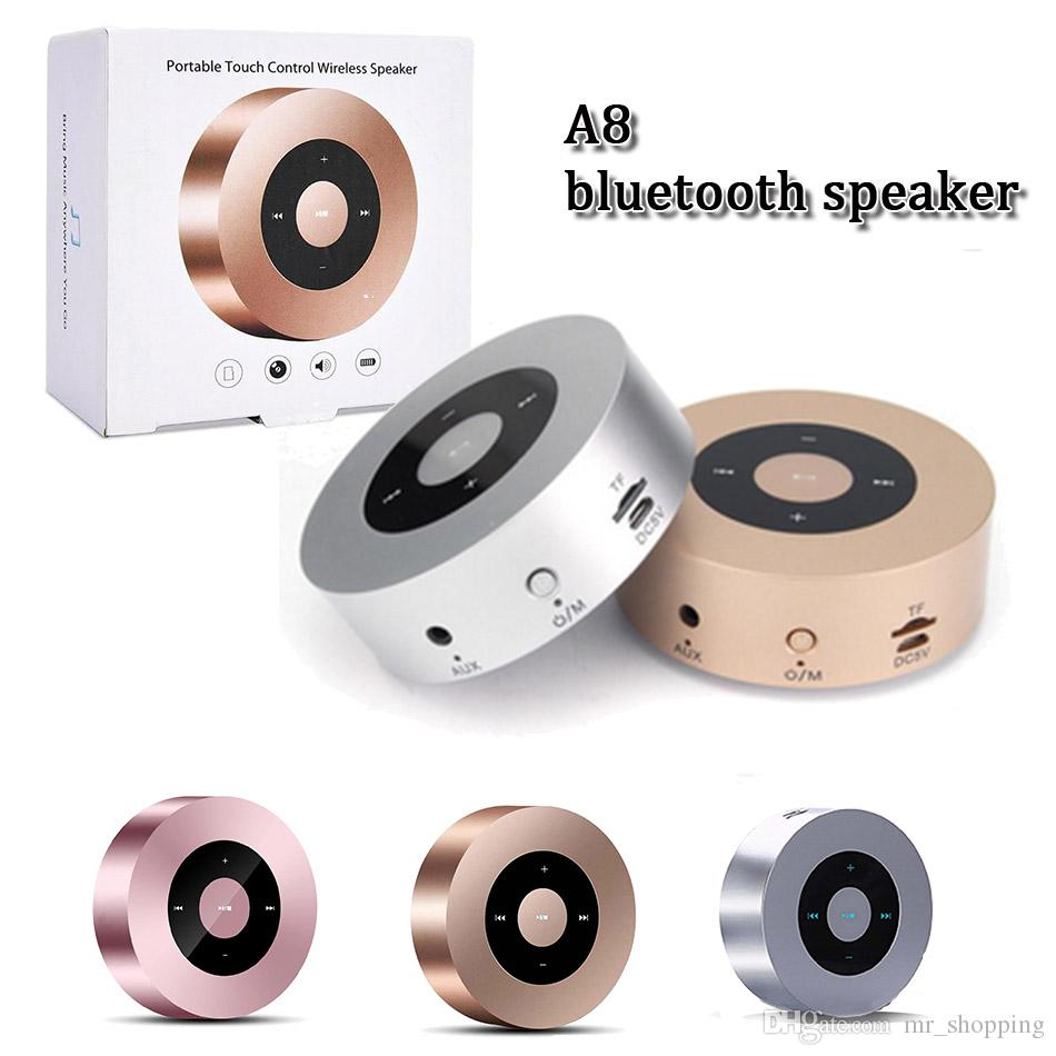 A8 mini portable handree supper bass stereo wireless bluetooth v4.2 speaker smart touch keys metal mp3 music player with mic for iphone x