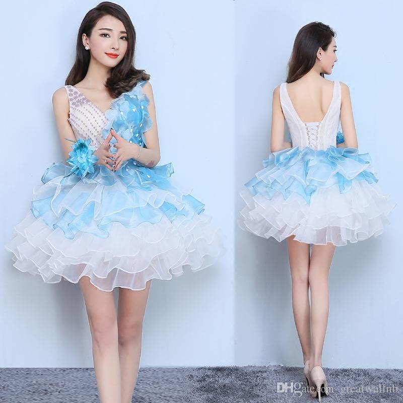 Freeship con volantes de flores de color azul claro que rebordea el vestido de la danza de hadas / performance de escenario / vestido / vestido de tutú / puede el tamaño de las aduanas