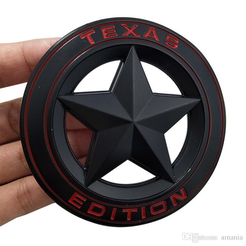 3D Metal TEXAS EDITION Bouclier Pentagramme 3D Emblème Badge Voiture Fender Côté Queue Corps Autocollant pour JEEP Wrangler Liberty Grand Cherokee