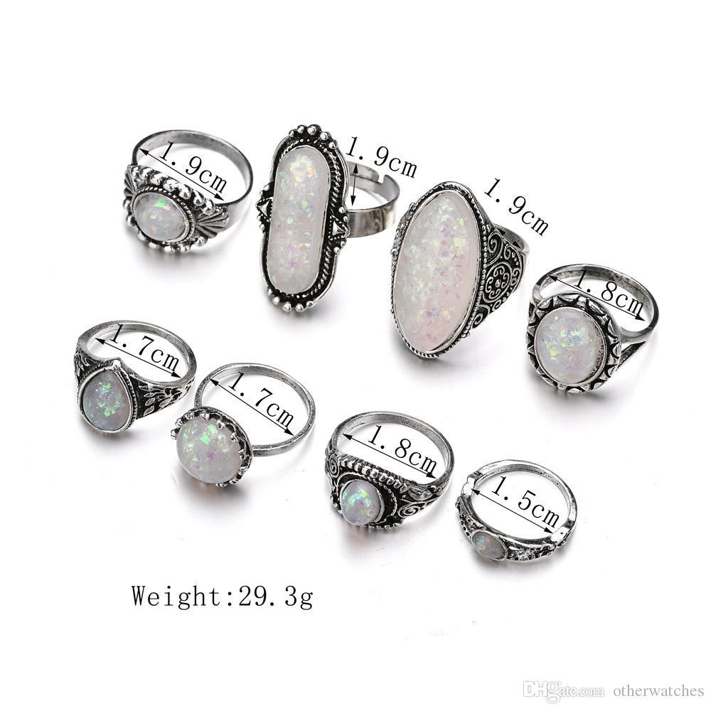 Творческий национальный ветер нерегулярной геометрии 8 комплектов комбинаций кольца Solitaire Ring