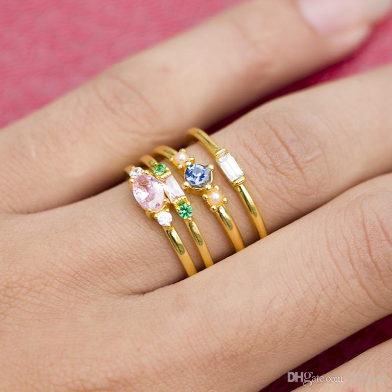 여성 지르콘 파티 간단한 여성용 반지 세트 골드 컬러 반지에 대 한 설정 4PCS 패션 빛나는 크리스탈 웨딩 약혼 손가락 반지