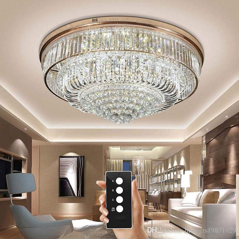 2019 3 Brightness Crystal Light Living Room Lamps Ceiling Lights Round  Crystal Ceiling Lights LED Bedroom Restaurant Lamp With Remote Control From  ...