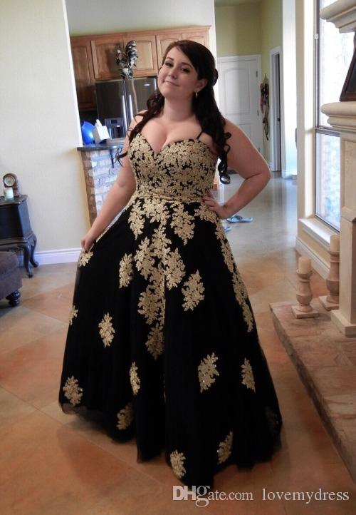 2018 Fashion Black With Gold Lace Applique Plus Size Prom Evening Dresses  Special Ocassion Dresses Gowns Sweetheart A Line Tulle Corset Back White ...