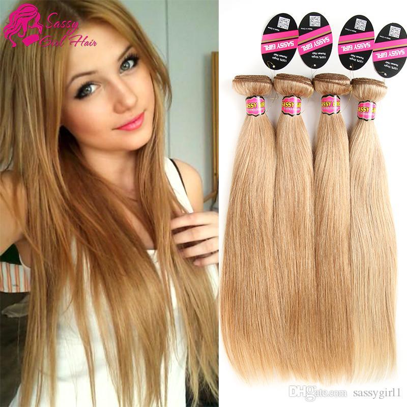 Grade 7a Brazilian Honey Blonde Straight Hair Weave unprocessed 27# Blonde Virgin Hair Extension 4Pcs Lot Human Hair Bundles SASSY GIRL