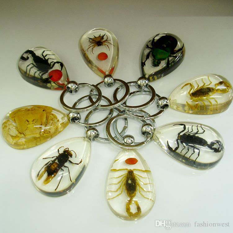 Regalo de boda Lindo Nuevo llavero Lindo para mujer Insecto Ámbar y Transparente llavero Moda para mujer Metal llavero