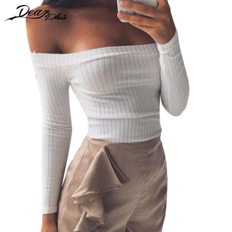 Sexy Slash Neck Long Sleeve Knit Crop Top Women Off The Shoulder Sheath Stretch Slim Shirts Tops Autumn Winter Tees
