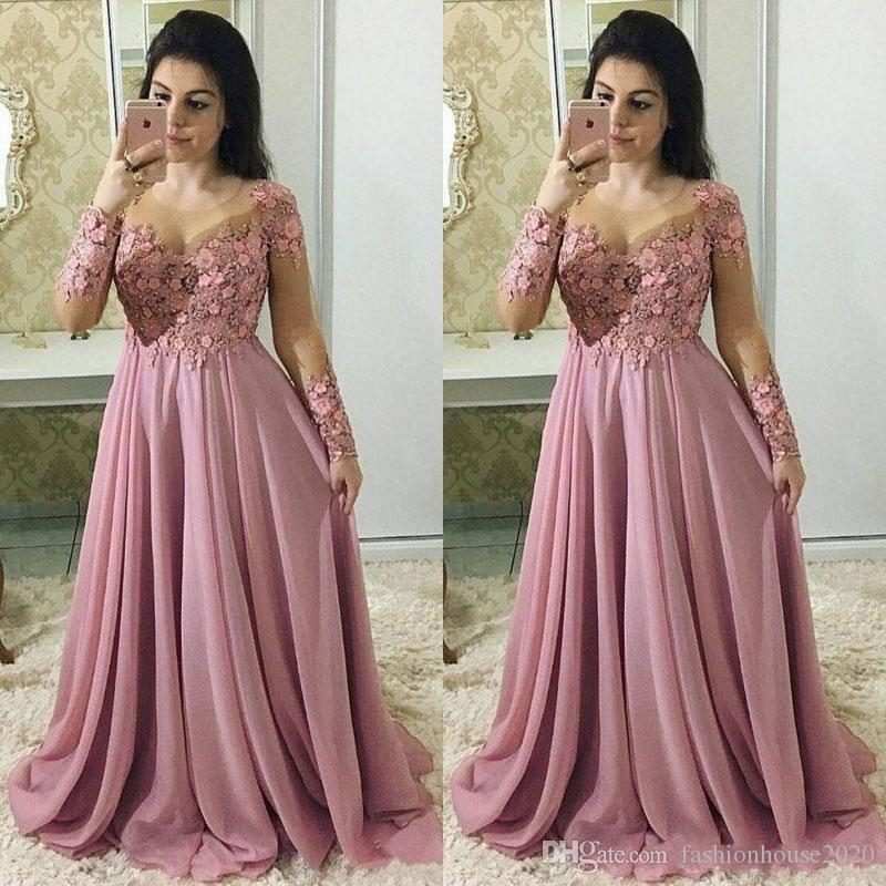 2020 New Long Sleeves Dusty Pink Mother Of The Bride Dresses Jewel Neck Lace Appliques Chiffon Flowers Plus Size Party Wedding Guest Gowns