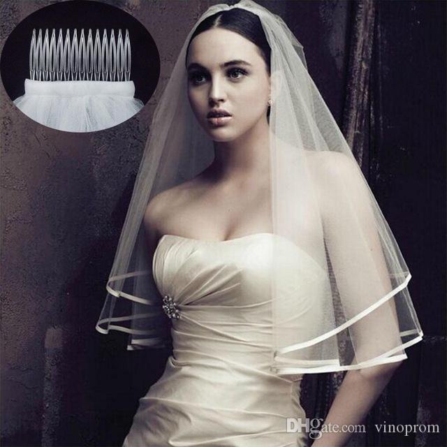 2018 Nuovo arrivo Accessori da sposa Due strati Bordo del nastro Bianco Avorio Veli da sposa Velo da sposa con pettine