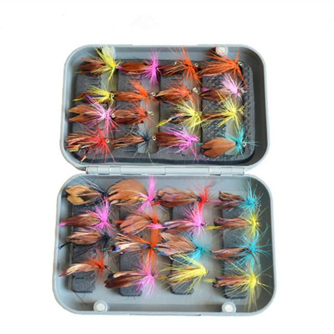 KKWEZVA 32 шт. В шт. коробка нахлыстом приманка набор искусственные приманки форель нахлыстом приманки крючки снасти с коробкой бабочка насекомых