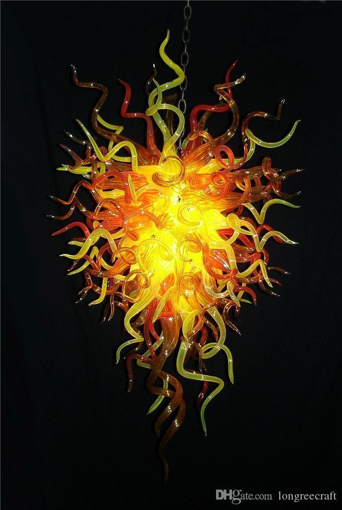 Creative Design Hotel Decor Artistic Lampy Bursztynowe Kolorowe Długi Łańcuch Styl Ręcznie Dmuchany Szklany Żyrandol Lekki Oprawa