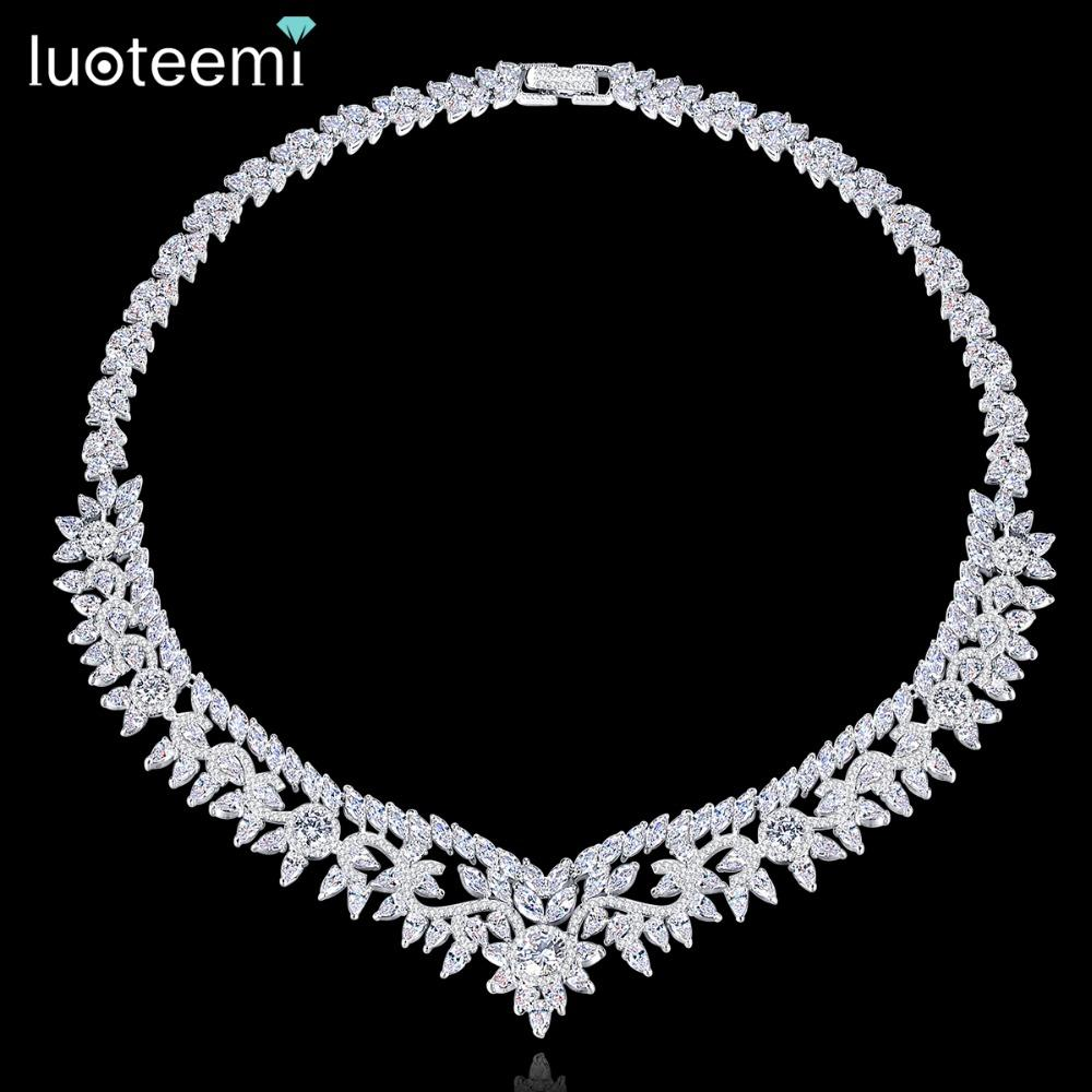 Luxury Punk Flower Crystal Choker Collar Women Gold Silver Statement Necklace We