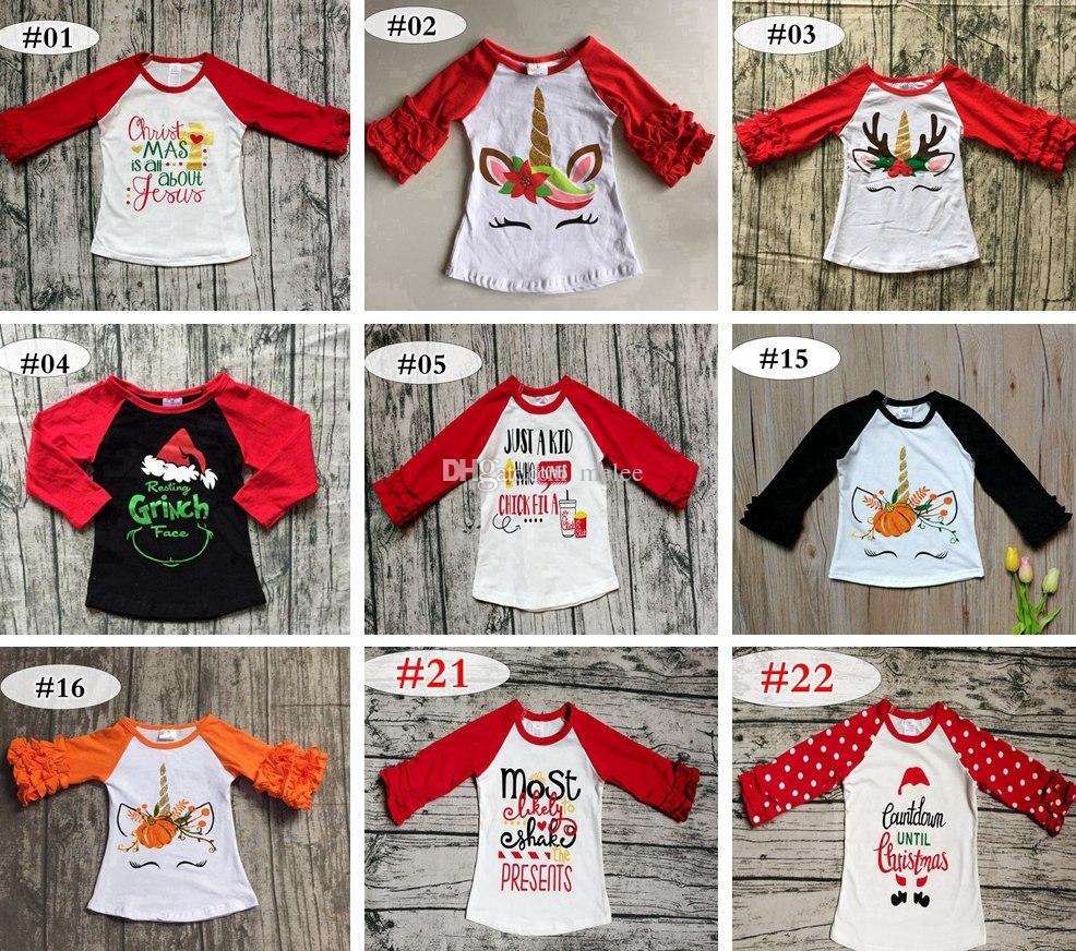 noël automne filles à manches à volants bébé éléphant floral t-shirt chemise en coton à volants t-shirts raglan dessus licorne