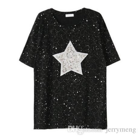 Compre 4xl Tallas Grandes Camiseta De Verano Summer Shiny Star Lentejuelas Diseno Tops Manga Corta Suelta Casual De Algodon Femme Camisas Blusa A 34 99 Del Jerrymeng Dhgate Com
