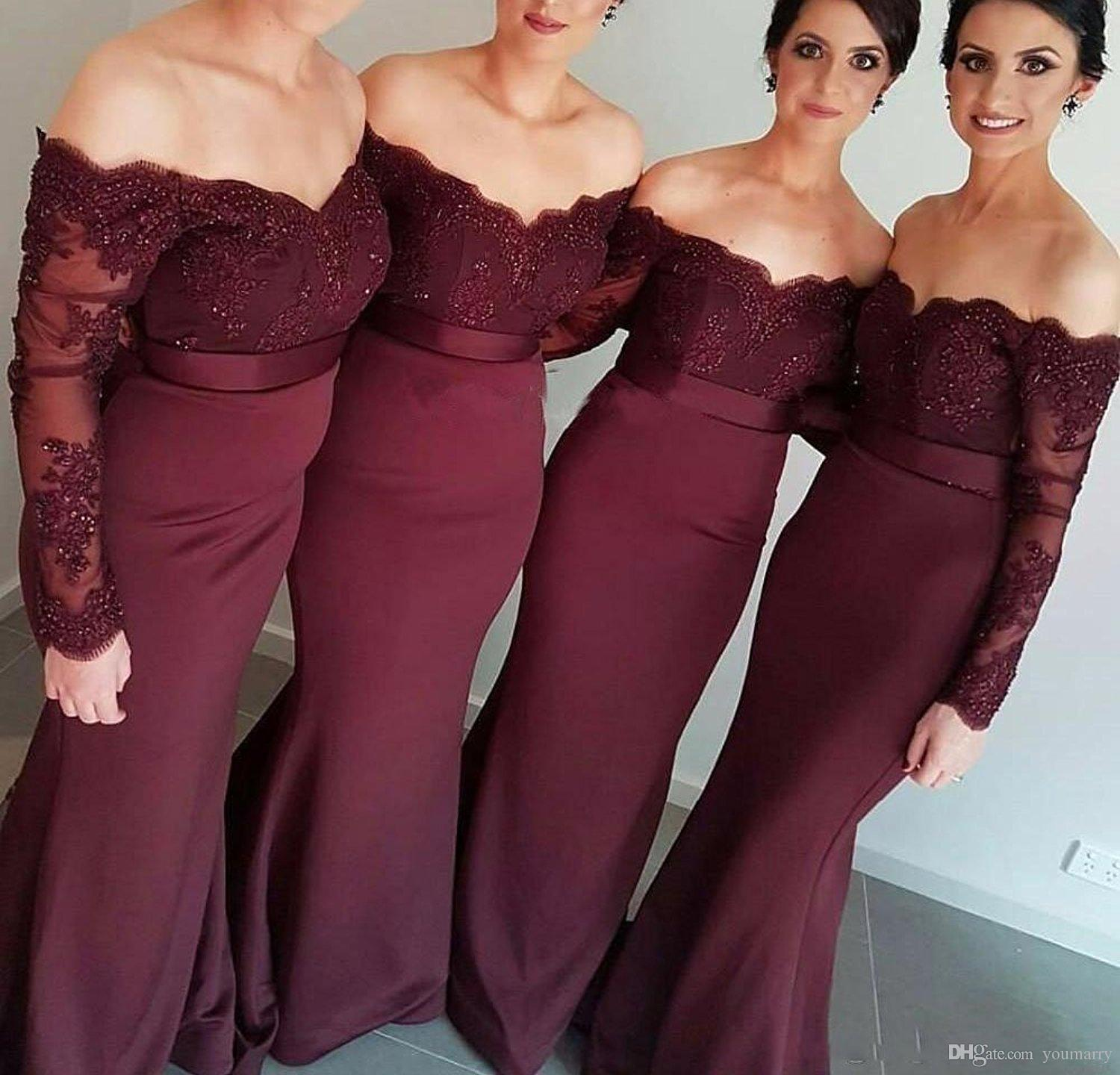2019 Long Sleeve Lace Burgunday Off The Shoulder Bridesmaid Dresses Prom Dress
