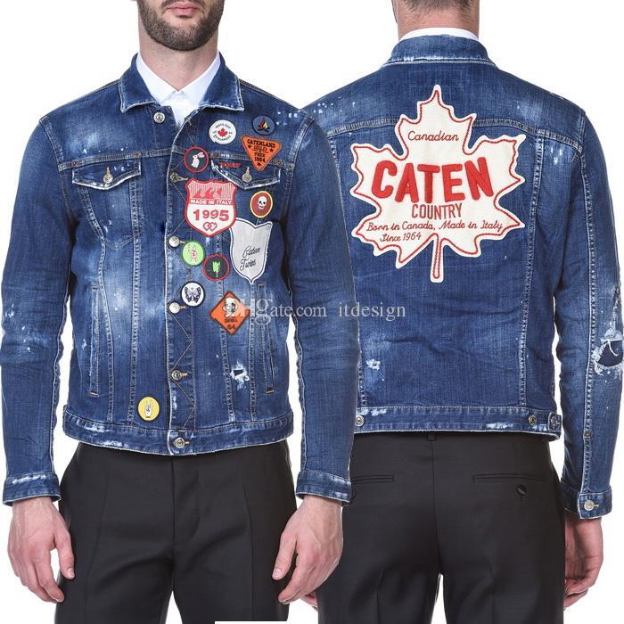 Hombres Denim Chaqueta con parches Applique Slim Fit Style Pintado Pintado Desvanecido Cowboy Outerwear Masculino
