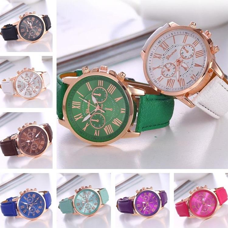 Nueva unisex pulsera de cuero reloj de cuarzo relojes de lujo de silicona Romano Ginebra números de relojes de moda unisex Deportes Cystal WatchT6C070