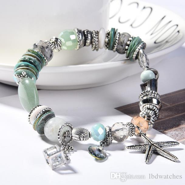 Charme Armbänder 2021 Armband Böhmische Mini Frische Naturstein Kristall Dame Starfish Shell Mode Verkauf