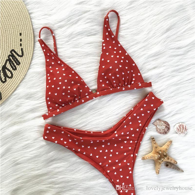 2018061001 Seksi Mayo Mayo Mayo Kadınlar Kırmızı Bikini Kalp Plaj Maillot De Bain Femme Wear yazdır