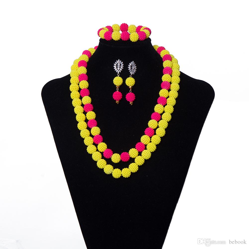 Womens Yellow and Pink Pearl Jewelry African Jewelry Set Beads Necklace Wedding Nigerian Beads Bridal Jewelry Set