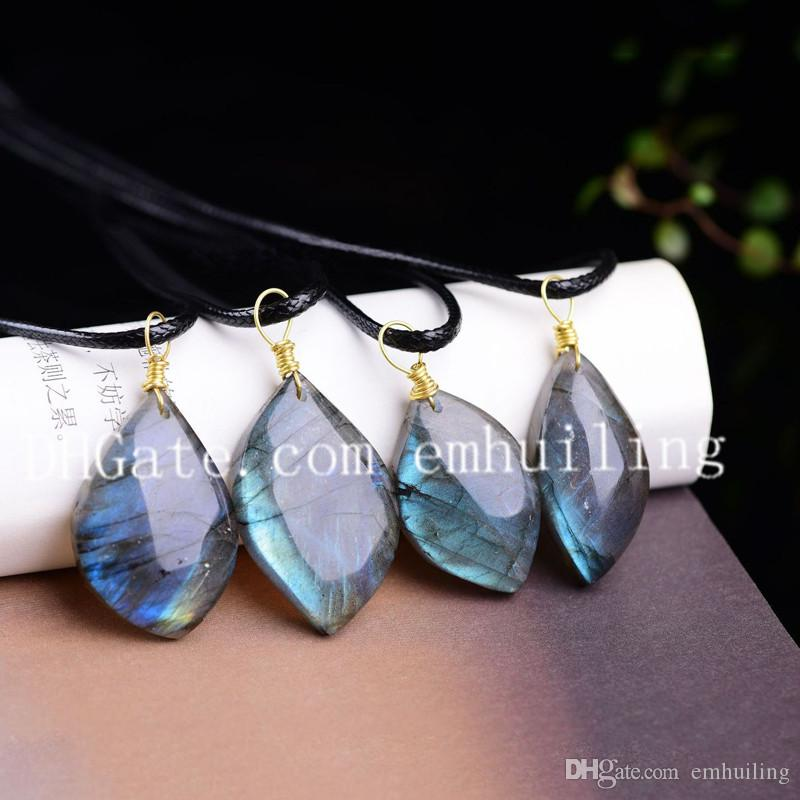 Small Genuine Stones Labradorite Tear Shaped Gems Pendant Gemstone Flashy Stone Labradorite Crystal Point Water Drop Pendant Choker Necklace