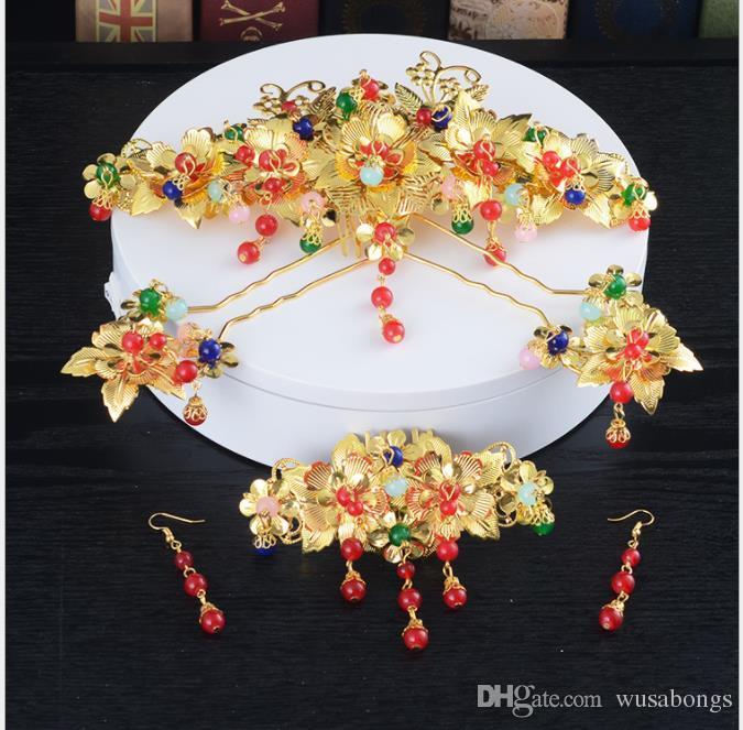 Coiffure de mariée, épingle à cheveux chinoise, ensemble en épingle à cheveux, robe de mariée ancienne, franges, accessoires pour cheveux, accessoires