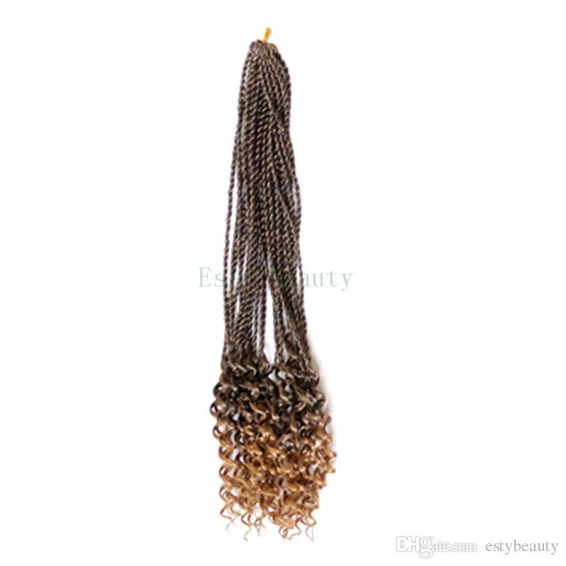 "ombre braiding hair senegalese twist hair crochet braids synthetic crochet braid hair 14"" 30 strands/pack ends curly"